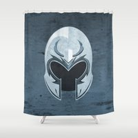 magneto Shower Curtains featuring Magneto helmet only by Tony Vazquez