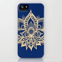 Gold and Blue Lotus Flower Mandala iPhone Case