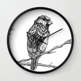 Two Sparrows by Sketchy Reputation Wall Clock
