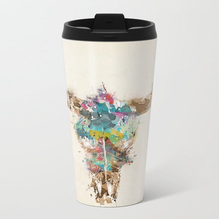 Cow Skull Metal Travel Mug