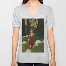 Adalmiina In The Woods By Rudolf Koivu                  Unisex V-Neck
