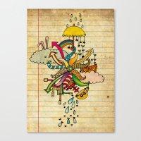 notebook Canvas Prints featuring Notebook World by Duru Eksioglu