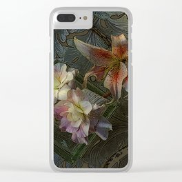 The Begonia Brocade Clear iPhone Case