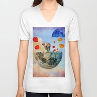 sia V-neck T-shirts featuring The gardener of the moon by Ganech joe