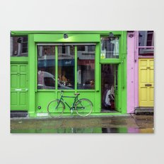 Green Shop and Bicycle Canvas Print