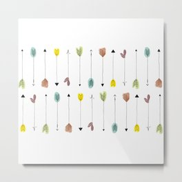 Arrows with Watercolor Feathers Metal Print