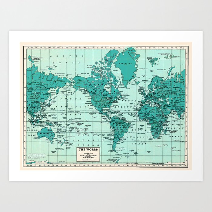 World Map in Teal Art Print