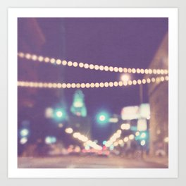 Sparkle No.2. downtown Los Angeles at night photograph Art Print