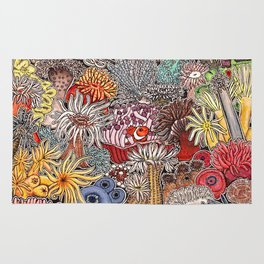 Clown fish and Sea anemones Rug