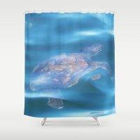 turtle Shower Curtains featuring Turtle by Lizzie Scott