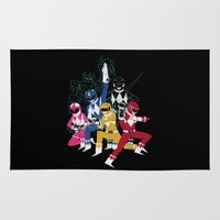 power rangers Area & Throw Rugs featuring power glove rangers by Louis Roskosch