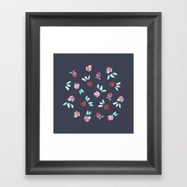 Clover Flowers on Grey Framed Art Print