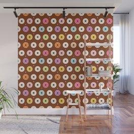 Kawaii Donuts Pattern on Brown Wall Mural