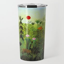 EXOTIC LANDSCAPE WITH LION AND LIONESS IN AFRICA - HENRI ROUSSEAU  Travel Mug