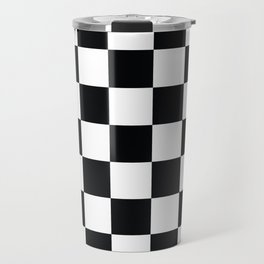 Black & White Checkered Travel Mug