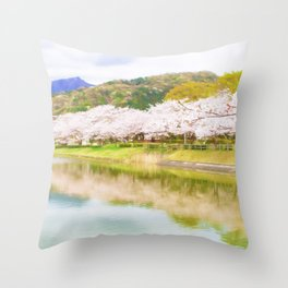 Cherry tree and pond Throw Pillow