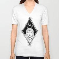 bones V-neck T-shirts featuring Bones by alesaenzart