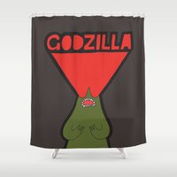 godzilla Shower Curtains featuring Godzilla by evannave