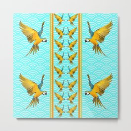 GOLD & BLUE TROPICAL MACAWS VERTICAL ART Metal Print