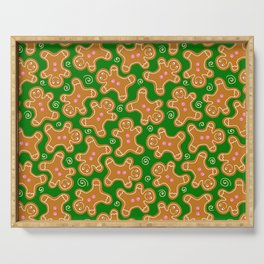 Gingerbread Men on Christmas Green Serving Tray