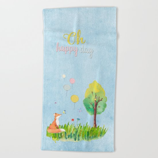 Fox- oh happy day on blue backround- Watercolor illustration Beach Towel