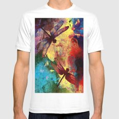 Dragonflies MEDIUM Mens Fitted Tee White