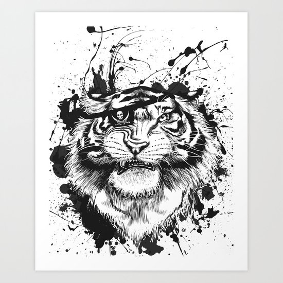 TigARRGH!! (Black and White) Art Print