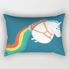 Fat Unicorn on Rainbow Jetpack Rectangular Pillow