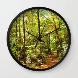 Sunlit Forest in Autumn Wall Clock