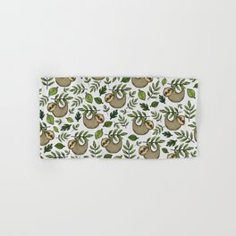 Little Sloth Hanging Around, Cute Sloth Print, Gray and Green, Hand-Drawn Sloth Hand & Bath Towel