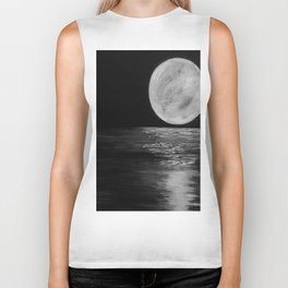Moonlit. Sunset, water, moon, full moon, orginal painting by Jodilynpaintings. Black and white Biker Tank
