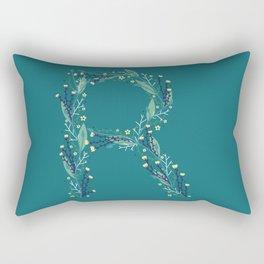 Turquoise flowers alphabet R Rectangular Pillow