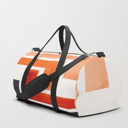 Burnt Sienna Aztec Pattern Mid-century Modern Simple Geometric Pattern Watercolor Minimalist Art Squ Duffle Bag