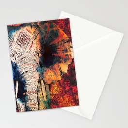 Indian Sketched Elephant Red Orange Asian Bohemian Hippie Elephants Art Stationery Cards
