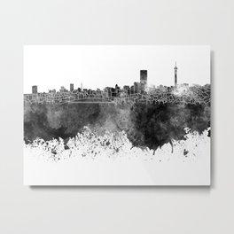 Johannesburg skyline in black watercolor on white background Metal Print