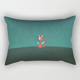 Small winged polka-dotted red cat Rectangular Pillow