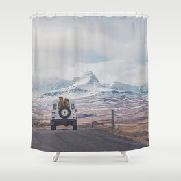 NEVER STOP EXPLORING ICELAND Shower Curtain