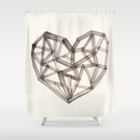 wooden Shower Curtains featuring Wooden Heart by Picomodi