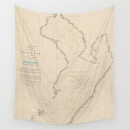 Vintage Map of Tampa Bay FL (1855) Wall Tapestry