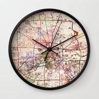 houston Wall Clocks featuring Houston by MapMapMaps.Watercolors