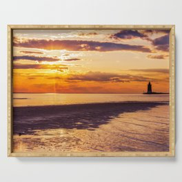 Coastal Landscape Photograph Cape Henlopen at Sunset - Beach Art Serving Tray