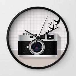 vintage camera and birds Wall Clock