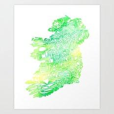 Typographic Ireland - Green Watercolor Art Print