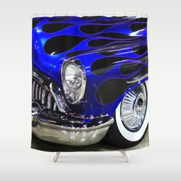 Blue Classic Car Shower Curtain