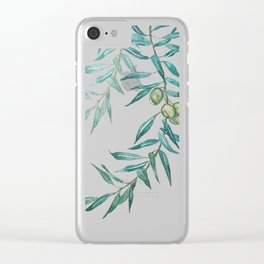 green olive leaf watercolor Clear iPhone Case