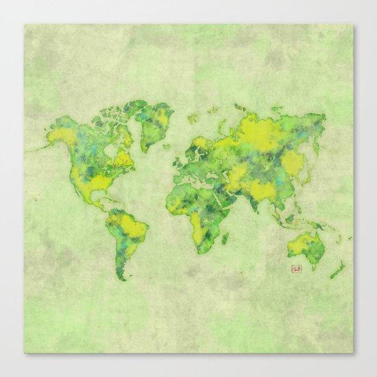 World Map Green Vintage Canvas Print