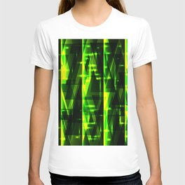 Luxurious green stripes and metallic triangles of blades of grass create abstraction and glow. T-shirt