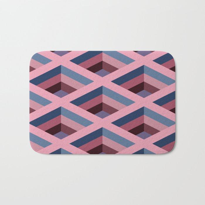 SQUARE HOLES / pale pink / marine blue / ancient pink / violet dark Bath Mat
