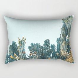 Teal Cactus Rectangular Pillow