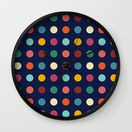 Teithi - Multicolor Dots on Dark Blue Wall Clock